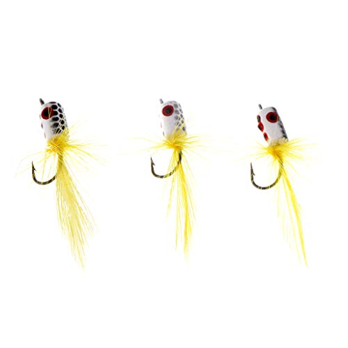 B Blesiya 3X Popper Flies Traditional Fly Fishing Flies Topwater Dry Flies for Bass Bluegill Panfish Crappie Trout Salmon