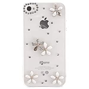 QHY Elegant Design Silver Flowers with Diamond Covered Transparent Hard Case with Nail Adhesive for iPhone 4/4S