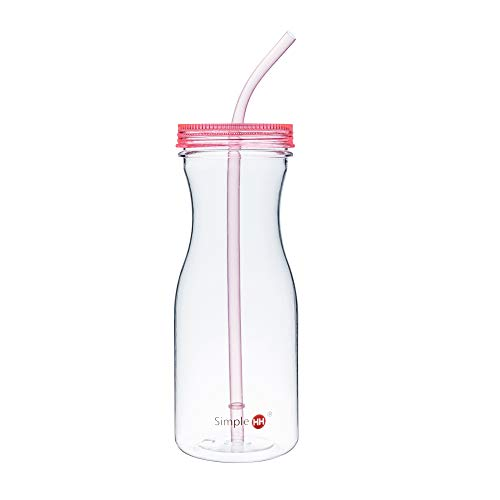Simple HH Tritan BPA-Free Water Bottle with Straw 33oz Dishwasher-Safe Drinking Tumbler | Extra Wide Mouth w/Easy Twist Lid (Tango Pink)