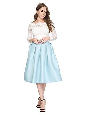 Maggie Tang Women's A-Line Pleated High Waisted Street Skirt Skater Skirt