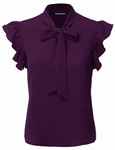 FASHIONOLIC Women's Casual Cap Sleeve Bow Tie Blouse Top Shirts (PSALM23) Eggplant M
