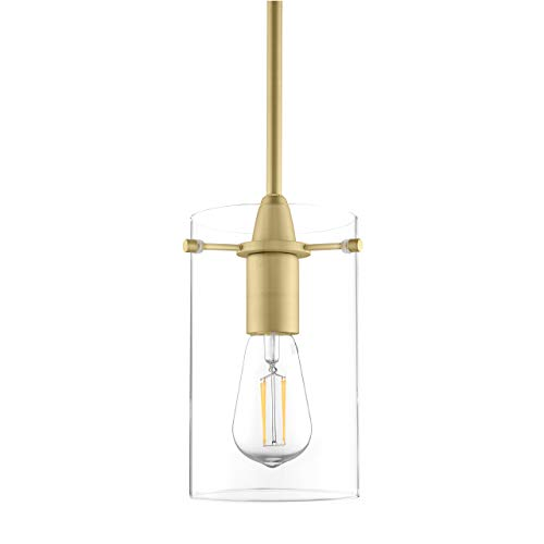 Effimero Medium Hanging Pendant Light | Satin Brass Kitchen Island Light, Clear Glass Shade - Pendant Brass Light Fixture