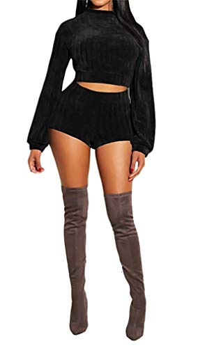 Women Long Sleeve Crop Top Knitted Sweater Bodycon Shorts Set Party Clubwear Sexy 2 Pieces Outfits(Black-Medium) -