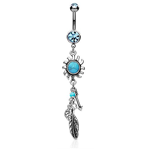 Dynamique Turquoise Centered Tribal Sun with Feather and Arrows Dangle 316L Surgical Steel Belly Button (Dangling Sun Belly Ring)
