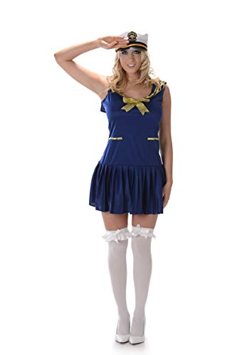 (Women's Navy Sailor Girl Costume, for Halloween Party Accessory,)