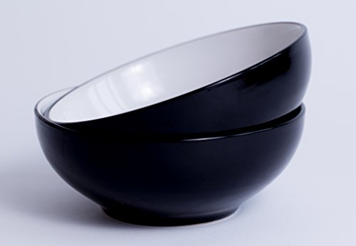 Solid Pasta Bowl - large bowls for salad, soup, pasta. Dishwasher and microwave safe. Easy to clean. Stackable set of 2.(By LoveMyBigBowl)