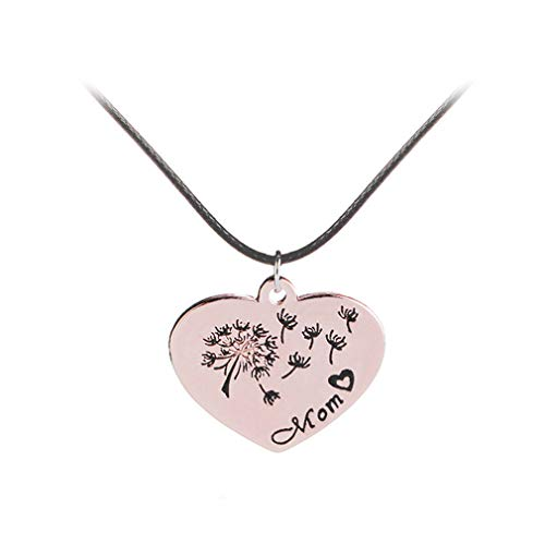 MOONQING Simple Heart-Shaped Pendant Necklace Dandelion Necklace Beautiful Lettering Necklace