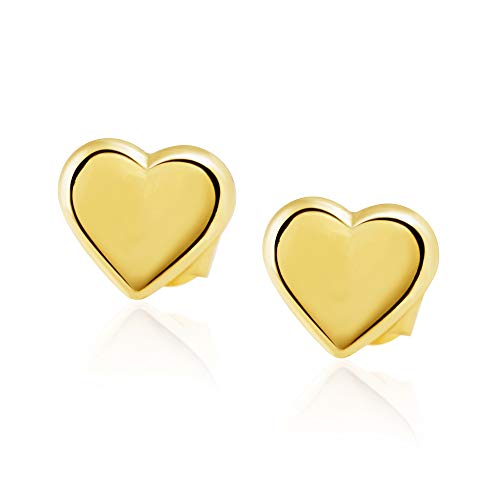 14KT Yellow Gold Polished Heart Children Screwback Baby Girl Stud Earrings - Charming with Secure - Polished Childrens Heart
