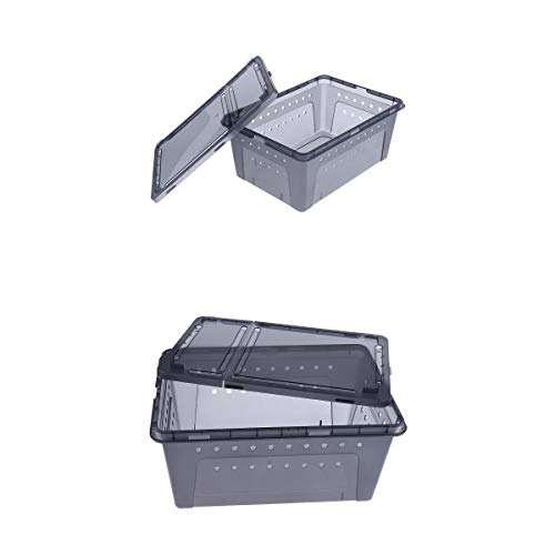 non-brand MagiDeal 2pcs Ventilación Caja De Plástico Negro Insecto Reptil Transporte Cría Alimentos Vivos Caja De...