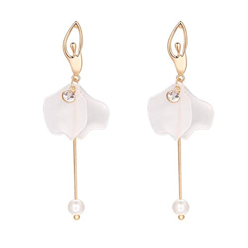 Merdia Long Dangle Earrings Faux Pearl Synthetic Resin Petals Ballet Girl Style Earrings for Women Girl by Merdia
