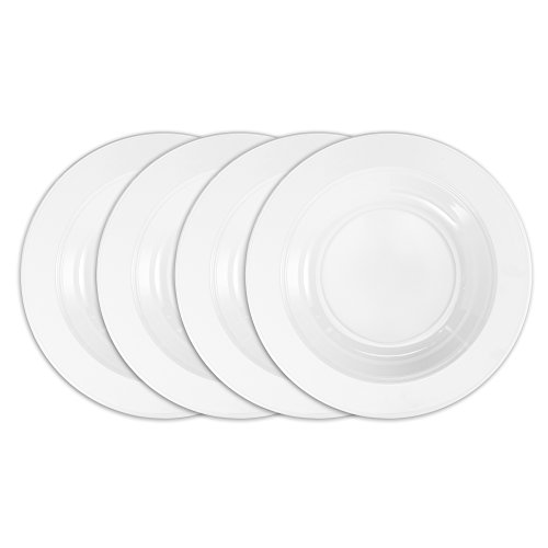 Q Squared Diamond BPA-Free and Shatterproof Melamine Round Pasta Bowl, 10-1/2-Inches, Set of 4, White