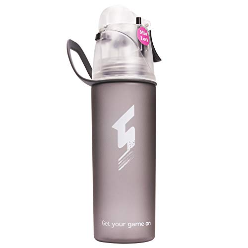 Qshare Misting Water Bottle, Spray Mist Sports Bottle for Outdoor Sport Hydration and Cooling Down, FDA Approved BPA-Free Misting Water Bottle with Unique Mist Lock Design (Black-20oz)