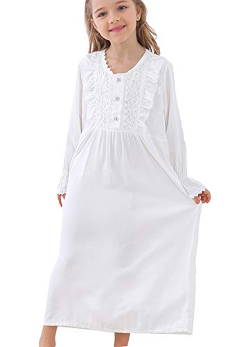 PUFSUNJJ Kids Girls Princess Lace Nightgowns Long Sleeve Sleep Dress Toddler 3-10 Years -