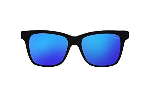 Tuff Sunglasses New York Black Matte Wayfarer Blue Mirrored Lens - Tuff Sunglasses
