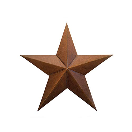 (RUSTY METAL TIN BARN STAR 18 -rustic primitive country indoor outdoor Christmas home decor. Interior exterior metal decorations look great hanging on house walls fence porch patio. Quality gift 18