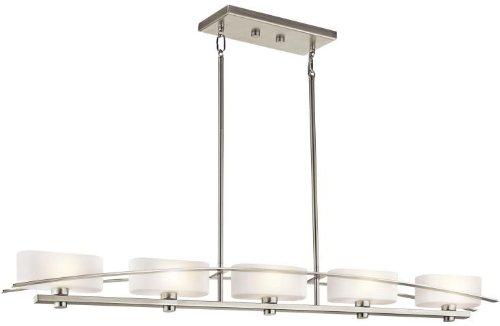 - Kichler 42018NI Suspension Linear Chandelier 5-Light, Brushed Nickel