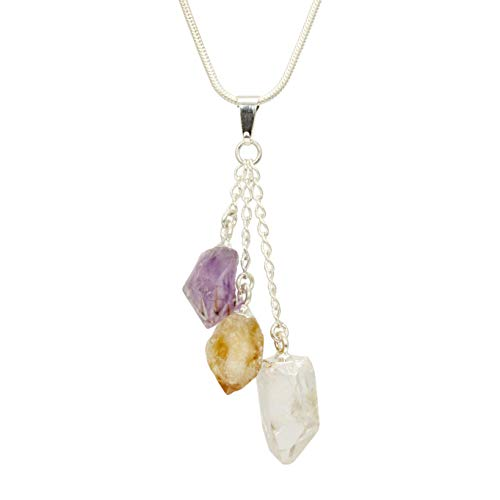 Gypsy World Imports Premium Quality Multi Gemstone Triple Point (Amethyst, Citrine, Clear Quartz) Pendant Energy Healing - Pendant Point Citrine