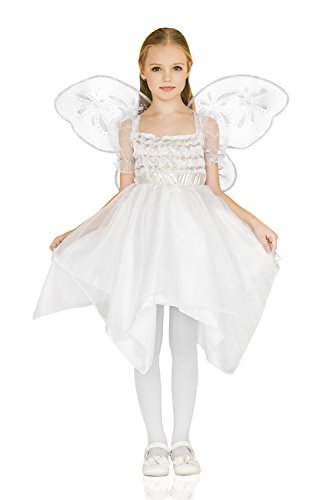 [Kids Girls Elegant Angel Halloween Costume Cherub Butterfly Dress up & Role Play (6-8 years)] (Angel Fancy Dress)