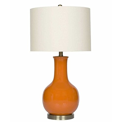 Lamp Gourd Ceramic Table (Abbyson Living Gourd Ceramic Table Lamp in Orange)