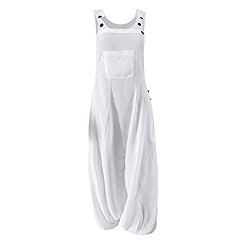 Jumpsuits for Women U Neck Romper Sleeveless Backless Side Pockets Sets Baggy Long Overalls White