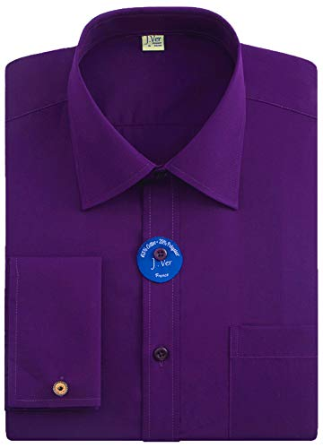 J.VER Men's French Cuff Dress Shirts Regular Fit Long Sleeve Spead Collar Metal Cufflink - Color:Purple, Size: 18.5