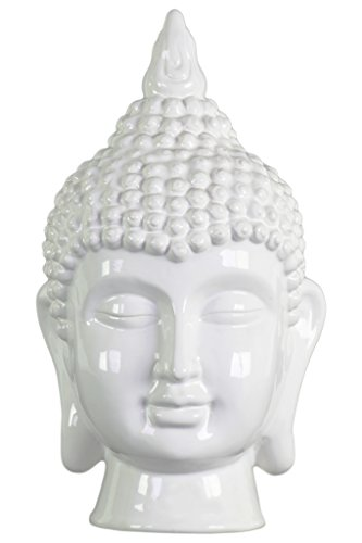 Ceramic Buddha head with Pointed Ushnisha Gloss Finish White by Urban Trends