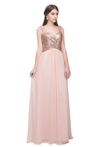 Women's Sequined Bridesmaid Dresses Sweetheart Long Wedding Party Prom Dress Blush US20W ()
