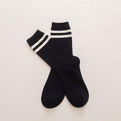 GRHY Femmina tubo cotone Primavera e autunno sezione sottile a due strisce lunghe Sports College vento Heap Ladies calze calzini alla caviglia,una dimensione, 3 coppie di nero