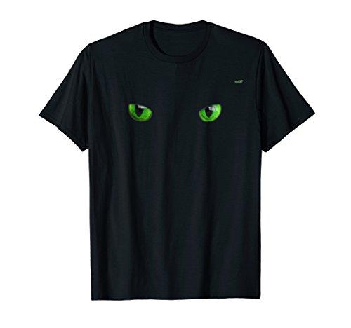 Cool Halloween cat face/eyes green on black shirt]()