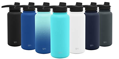(Simple Modern 32oz Summit Water Bottle with Chug Lid - Hydro Vacuum Insulated Flask 18/8 Stainless Steel Powder Coated -Caribbean)
