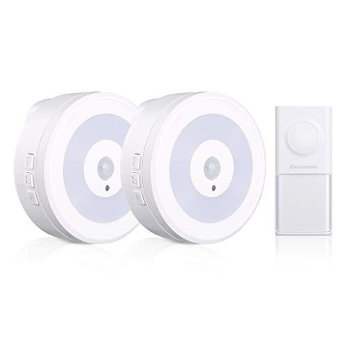 Price comparison product image Wireless Doorbell, Excelvan Waterproof Door Bell Chime Kit with 2 Plug-in Receivers and 1 Push Button, 58 Melodies Chimes, Night Light and LED Indicator, Long Operating Range for Home Office (White)
