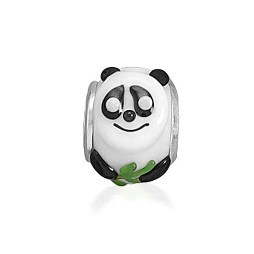Sterling Glass Silver Leaf Charm (Panda Bear with Bamboo Leaf Animal Bead Charm Murano Glass 925 Sterling Silver)