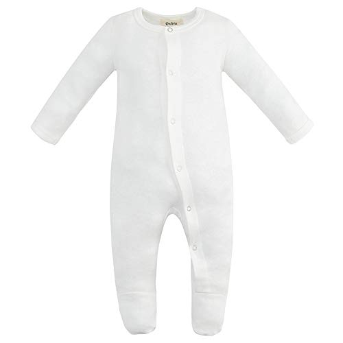 Owlivia Unisex-Baby Organic Button Cotton Sleep N Play Pajamas, Long Sleeve Footed Overall, Boys Girls' Sleeper (0-3 Months, Off-White)