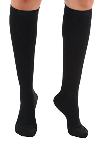 Mojo Compression Travel Socks for Women- Made in the USA Moderate Graduated Support Stockings for a Flight- Improve Circulation, DVT Prevention- 15-20mmHg(Large, Black)