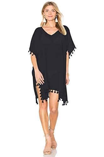 QBSM Women Summer Chiffon Sheer Tassel Bathing Suit Swimsuit Bikini Cover Ups Beach Swimwear Coverups, Black