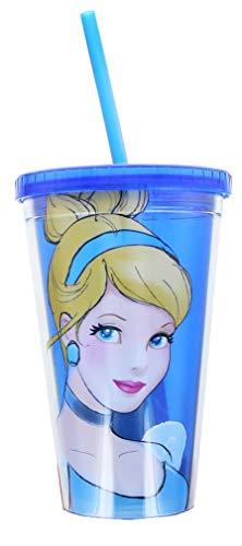 Silver Buffalo DP16087 Disney Princess Cinderella Plastic Cold Cup with Lid and Straw, 16-Ounces