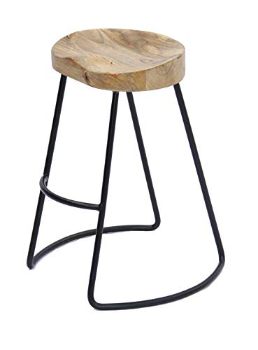 The Urban Port Antique Colonial Classy Wooden Barstool with Iron Legs (Long) (Wooden Stools Antique)