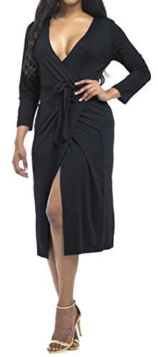 Midi Waist V Women's Tie Long Sexy Black Dress Neck Cromoncent Slit Sleeve qxzU4q