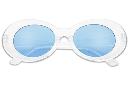 Colorful Oval Kurt Cobain Inspired Clout Goggles Mod Round Pop Fashion Nirvana Sunglasses (Clear, - Nirvana Sunglasses
