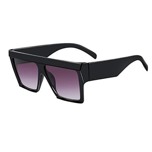 MEETSUN Oversized Flat Top Sunglasses for Women Men Square Designer Fashion Shades Black Frame + Grey Gradient Lens (Top Mens Sunglasses)