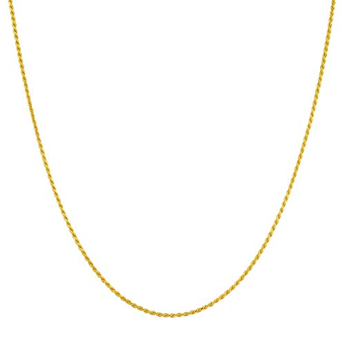 14k Gold over Italian Sterling Silver Vermeil 1.5mm Rope Chain 16