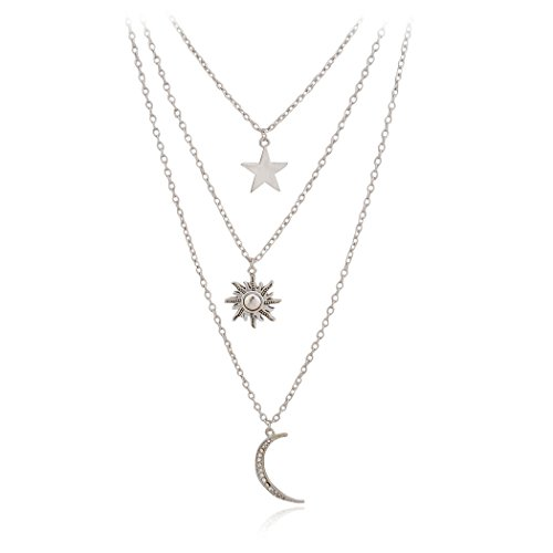 Jane Stone Fashion Jewelry Fancy Multi-Layer Galaxy Pave Moon Star Sun Pendants Chain Necklace for Girls(Fn1600)