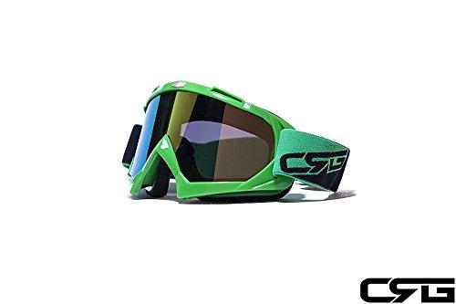 CRG Sports Motocross ATV Dirt Bike Off Road Racing Goggles ORANGE T815-7-6 T815-7-6 - Parent (Multi-color lens green frame)
