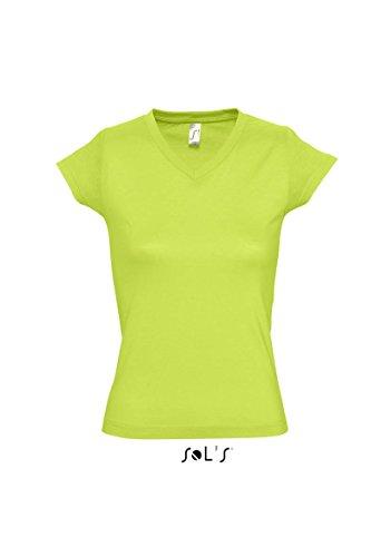 Sols - Moon - Damen V-Neck T-Shirt , Apple Green , XXL