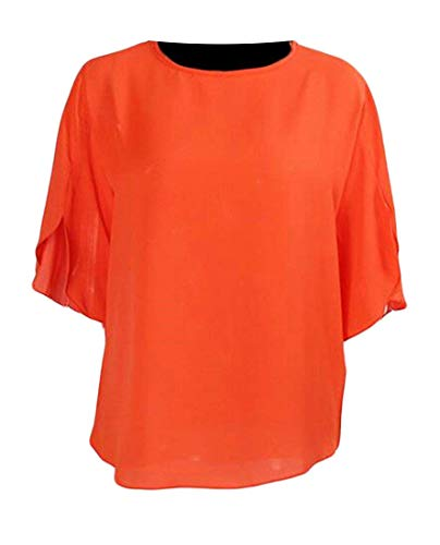 In Orange Unita Donna color Coat Girocollo Chiffon Allentata Orange Women Maglietta Tinta Medium Home Da Size 7tUnqw