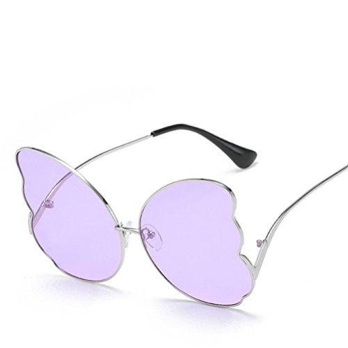 gafas viaje metálicos de Morado mujer sol sol verano para Mariposa Marcos para moda Lente Plateado de Gafas bordeadas de de de Marcos de mujeres ocasionales elegantes q7aUHpn