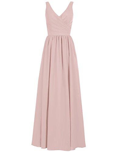 (Long Bridesmaid Dresses Chiffon Evening Formal Gowns Wedding Party Prom Dress V-Neck Sleeveless US 12)