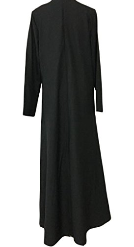 Patchwork Black Womens Comfy Solid Color Muslim Dresses Islamic Lace 8E8qrvp