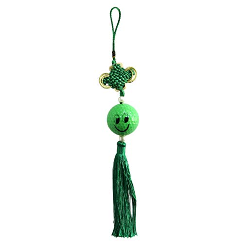 (Smile Face Tassel Chinese Knotting Pendant Fengshui Decro for Car Office | Color - Green)