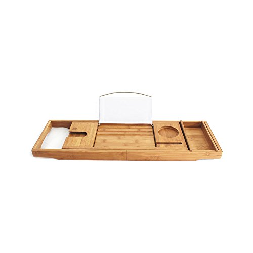 Annie's Bridal Bamboo Bathtub Caddy Tray with Extending Sides, Reading Rack, Tablet Holder, Cellphone Tray and Wine Glass Holder - Luxury Enjoyment In The Bat